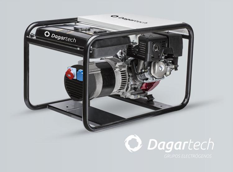 Grupo electrógeno portátil de la gama Profesional Dagartech con motor Honda refrigerado por aire para su uso en alquiler de maquinaria (Rental)
