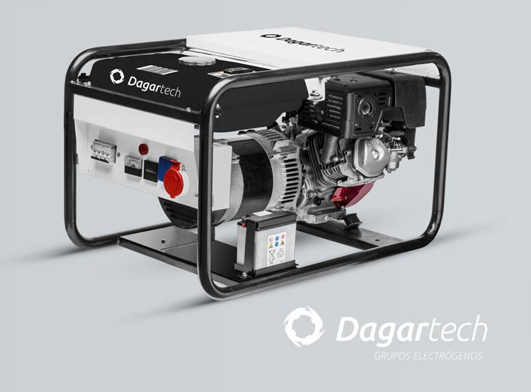 Grupo electrógeno portátil de la gama Residencial Dagartech con motor Honda refrigerado por aire para su uso en alquiler de maquinaria (Rental)