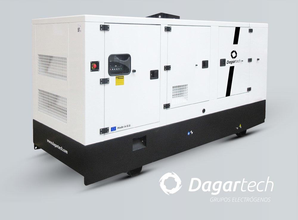Grupo electrógeno industrial insonorizado para aplicaciones industriales con motor Kohler, Perkins, Iveco, Doosan, Cummins o Volvo refrigerado por agua de Dagartech