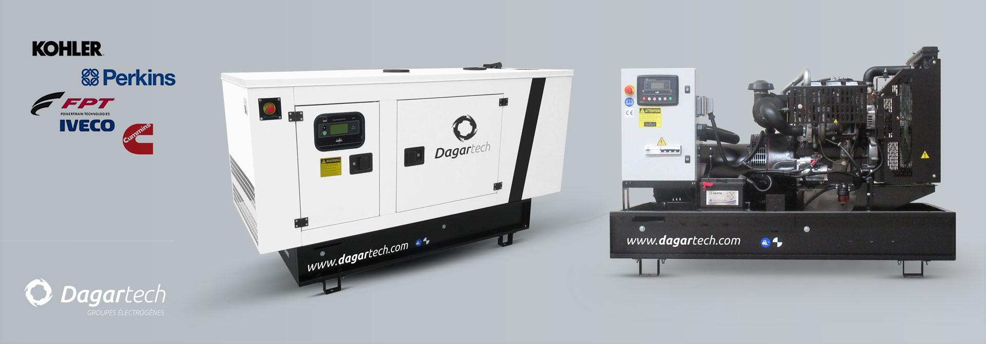 Groupe électrogène Balance pour espaces publics avec moteur Kohler, Perkins, Iveco, Cummins, Doosan ou Volvo avec refroidissment par eau de Dagartech