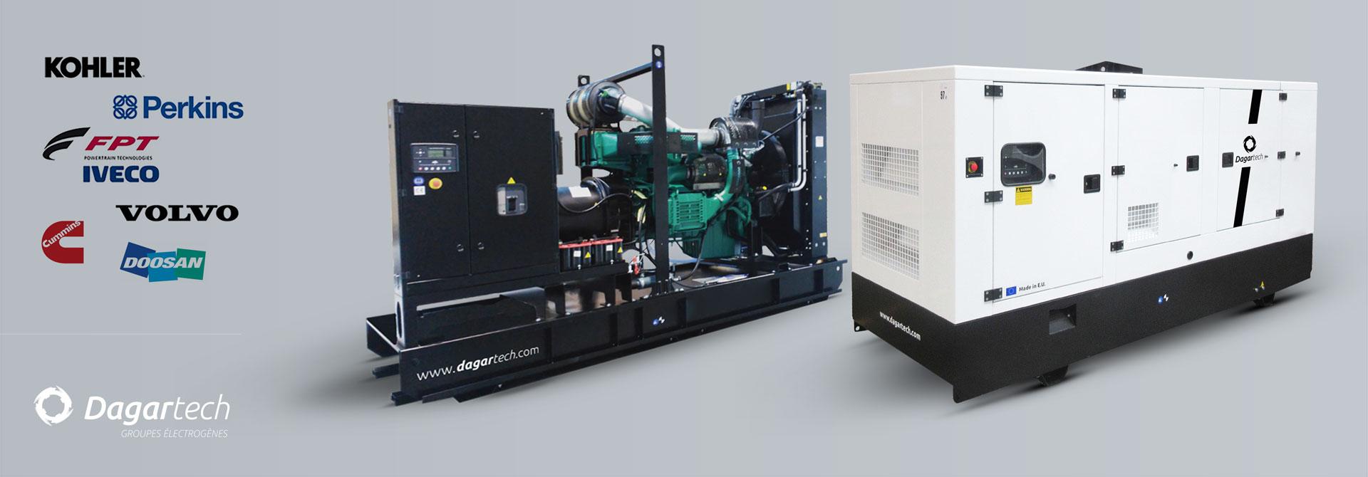 Groupe électrogène industriel pour applications industrielles avec moteur Kohler, Perkins, Iveco, Cummins, Doosan ou Volvo avec refroidissement par eau de Dagartech