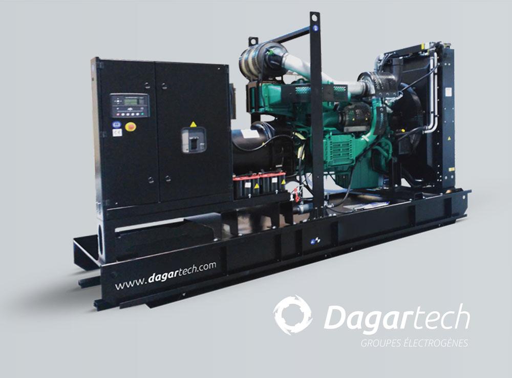 Groupe électrogène industriel ouvert pour applications industrielles avec moteur Kohler, Perkins, Iveco, Cummins, Doosan ou Volvo avec refroidissement par eau de Dagartech