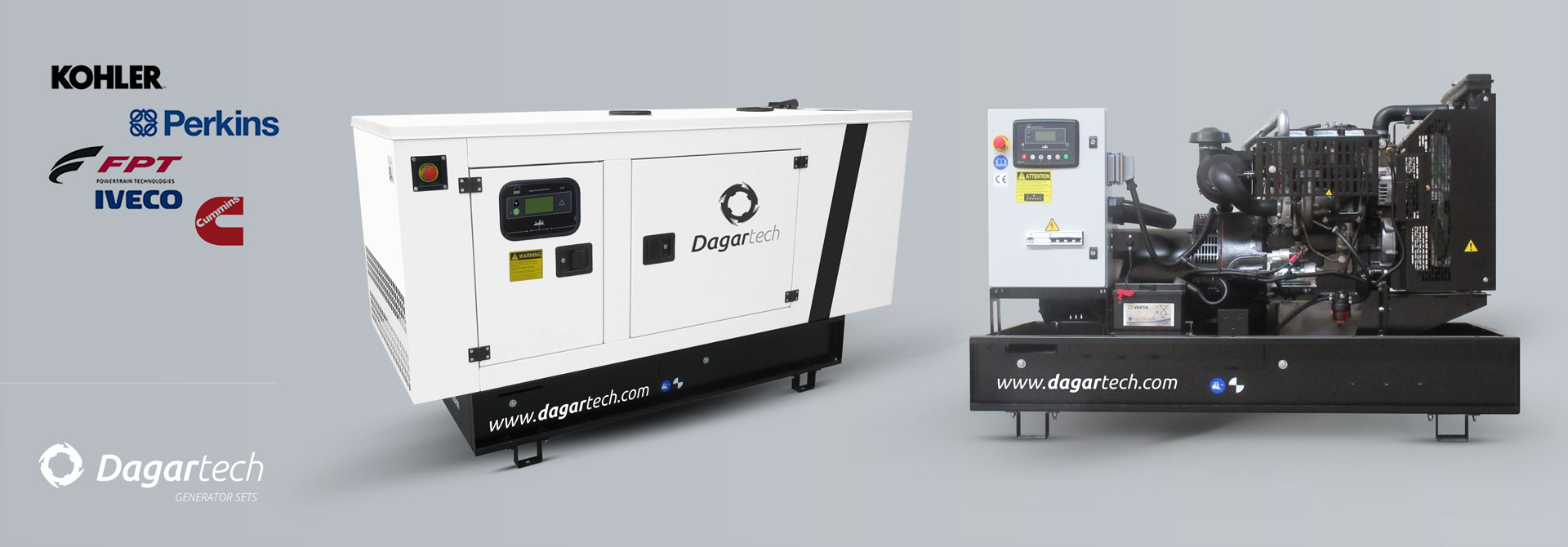 Balance generator sets for use in infrastructures with Kohler, Perkins, Iveco, Cummins, Doosan or Volvo water cooled engines