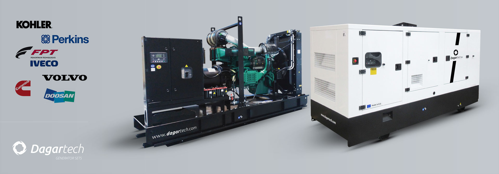 Dagartech Industrial generator sets for use in hospital sector applications with Kohler, Perkins, Iveco, Cummins, Doosan or Volvo water cooled engines