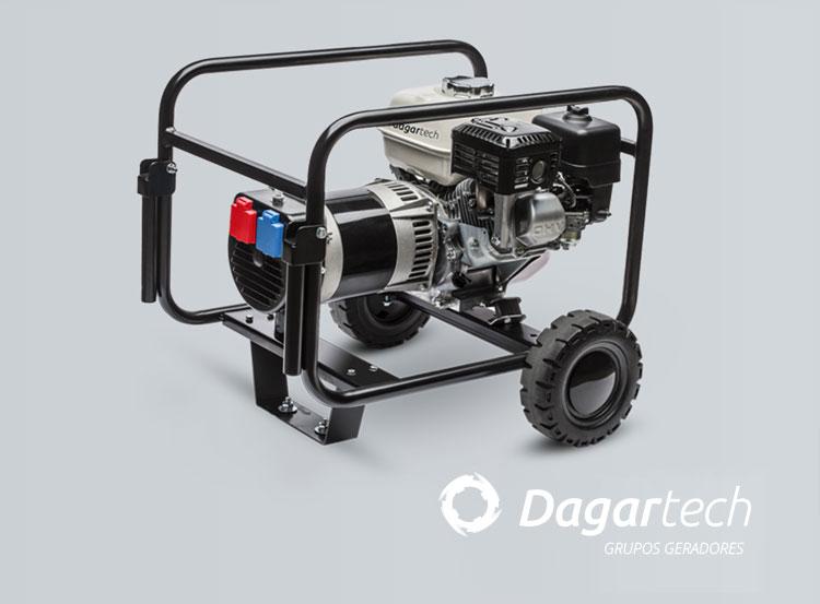 Grupo gerador da gama Portátil Básica Dagartech com motor Honda com refrigeração por ar para aluguer de equipamentos