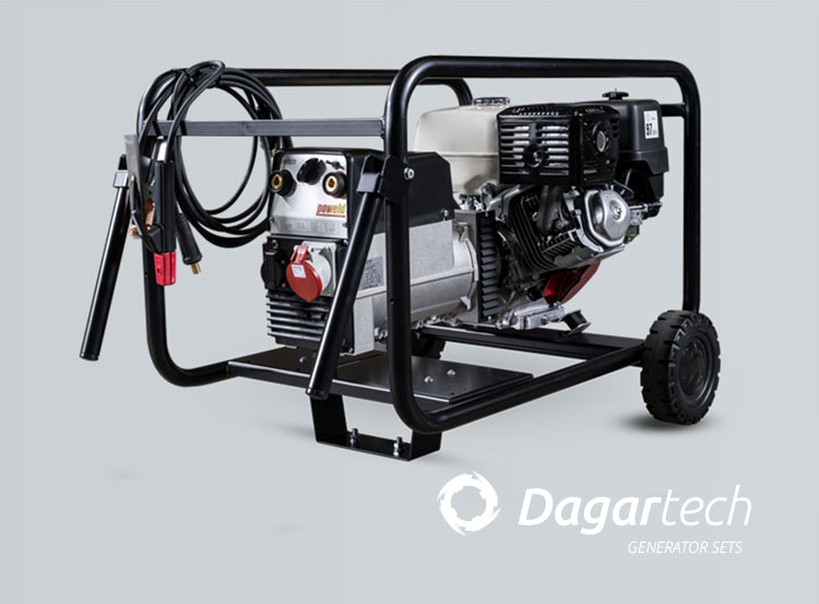 Dagartech Welding portable generator set for use in infrastructures with air cooled Honda engine