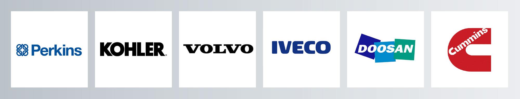 Moteurs utilisés dans les groupes électrogènes Dagartech: Perkins, Kohler, Volvo, Iveco, Doosan et Cummins.